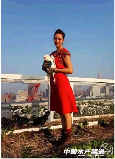 纽约高楼屋顶上的美女农夫 竖